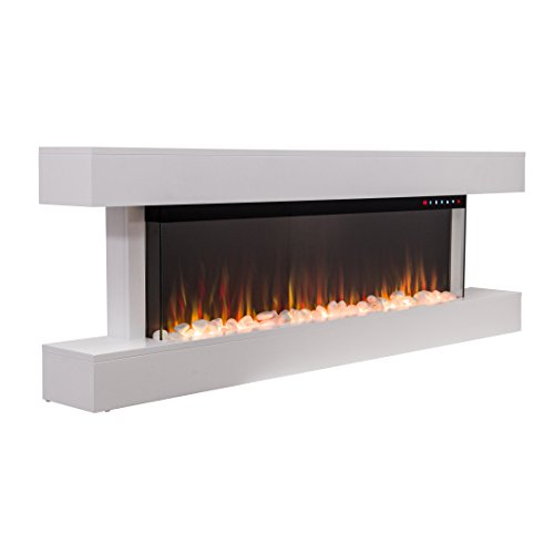 2020 New Premium Product 60inch White Wall Mounted Electric Fire Suite with 10 Colour Flames and Mantel (Pebbles, Logs and Crystals)