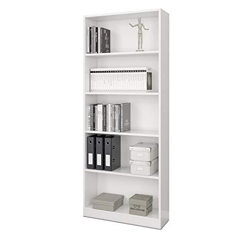 Estantería de Oficina Alta, Estanteria Despacho, Modelo Stylus, Acabado en Color Blanco Artik, Medidas: 201 cm (Alto) x 80 cm (Ancho) x 28 cm (Fondo)