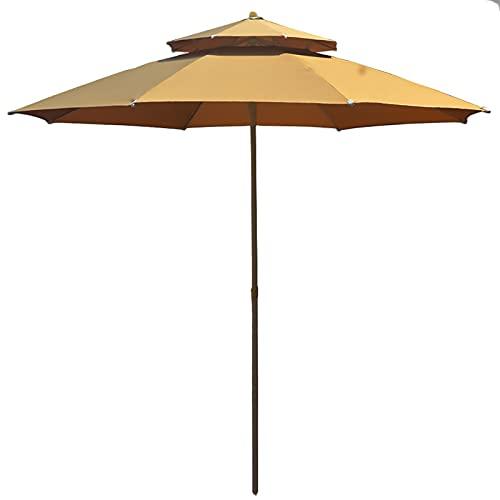 Sombrillas para Patio 9 pies Paraguas de mercado Sombrilla de mesa para patio al aire libre con Ventilación y 2 años No se desvanece Marquesina de poliéster, Costillas a prueba de viento de 3 capas