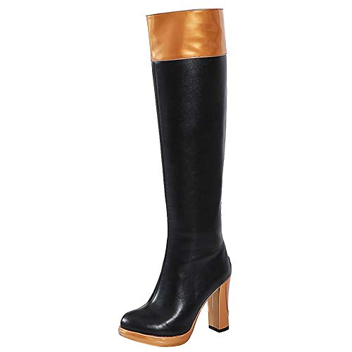Si Diosa Sweet Damen Plateau Kniestiefel Blockabsatz Hohe Ferse Zipper Ridding Stiefel Party Lange Stiefel Cosplay High Stiefel Heels Orange Size 48
