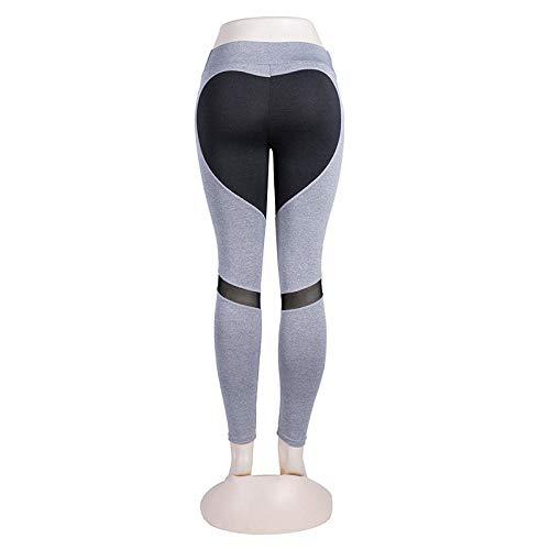 RRUI Strumpfhosen für Damen Leggings für Damen Arsch Liebe Mesh Gaze gewöhnlichen Sport Yoga Sporthose Frauen grau unten M.