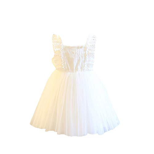 Haxikocty Children's Sleeveless Fantasy Princess Skirt Girls net Yarn Fairy Dress Party Dress White