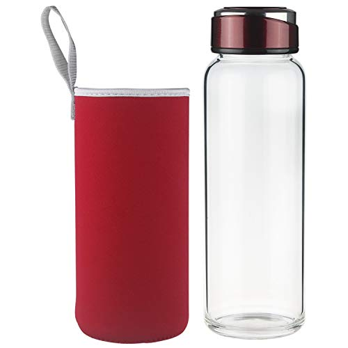 SHBRIFA Botella de Agua de Vidrio de Borosilicato 1000ml / 1500ml, Botella de Agua de Cristal con Funda de Neopreno y Tapa de Acero Inoxidable a Prueba de Fugas(1000ml Vino Rojo)