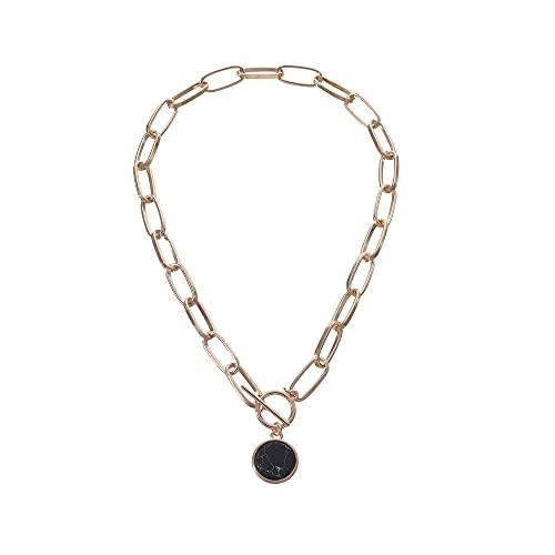 Colgante Ot Hebilla Collar con colgante de piedras preciosas negras agrietadas Collar de cadena de ojal popular exagerado femenino