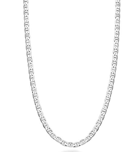 MiaBella Solid 925 Sterling Silver Italian 3mm, 4mm, 6mm, 7mm Diamond-Cut Solid Flat Mariner Link Chain Necklace for Women Men, 16-30 Inch Made in Italy (18, 3mm)