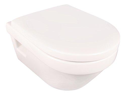 Villeroy & Boch Spülrandloses Wand-WC Set Omnia Architectura Directflush, Tiefspüler spülrandlos mit WC-Sitz, waagerechtem Abgang, Wassersparsystem AQUAREDUCT, Weiß, 04721 0