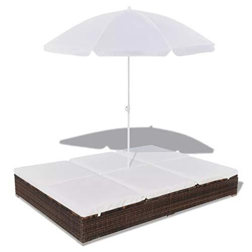 vidaXL Tumbona con Sombrilla Jardín Mueble Hamaca con Parasol Piscina Asiento Sofá Exterior Patio Terraza Ratán Sintético Marrón Material Tipo Mimbre