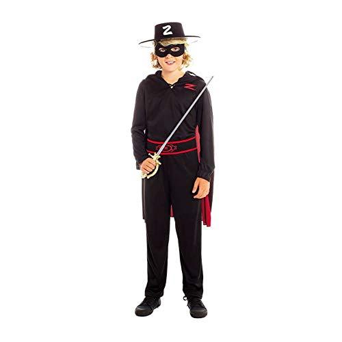 Disfraz de el Zorro NioTallas Infantiles de 3 a 12 aos[5-6 aos] Disfraz Nio Carnaval Personajes Bandido Justiciero con Capa Antifaz Cinturn Pantaln Desfiles Teatro Actuaciones Regalo Fiestas