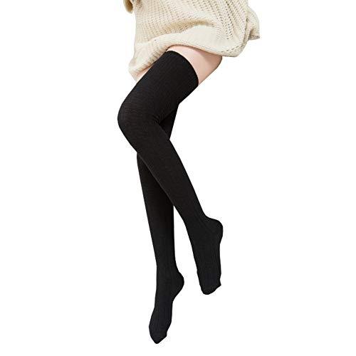 Damen Damen Plain über die Knie schwarz weiße Socken Schule hohe Strümpfe FNE