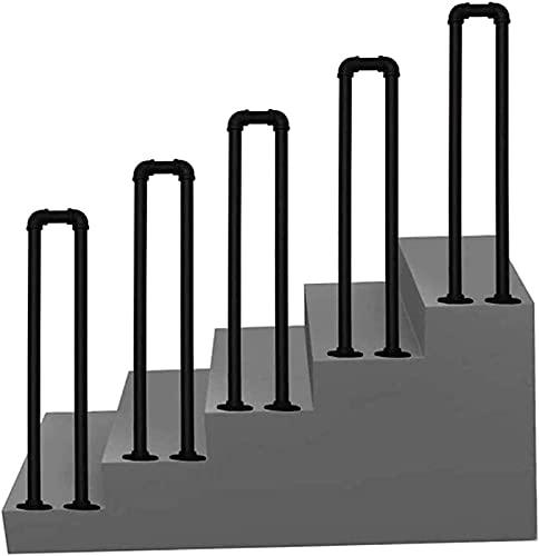 Pasamanos en forma de U para 1 escalón, barandilla de escalera antideslizante de hierro forjado, tubo galvanizado negro mate, barra de soporte de seguridad para el pasillo de acceso al hospita