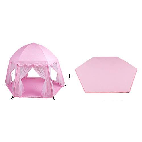 QULONG Tienda de campaña para niños pequeños con colchón Divisor de habitación para bebés Parque Infantil Castillo para niños Casa de Juego de Malla antimosquitos Casa de Juguete Hexagonal Casa de