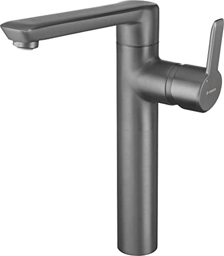 Grifo para lavabo con conector clic clac negro, batería de titanio Arnika