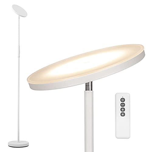 Anten Lampara de pie Stjarna | blanco | 30W lampara de pie led regulable con mando a distancia | 3 colores de luz + Brillo regulable | Lámparas de pie brillantes para salon, oficina.