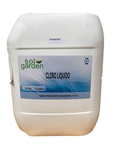 CLORO LIQUIDO Ipoclorito di sodio per piscina 14/15% solgarden kg 25