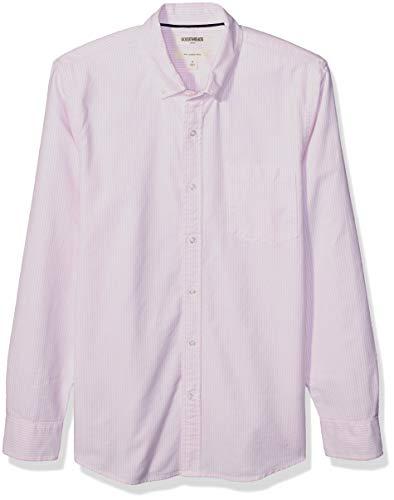 Amazon Brand - Goodthreads Men's Slim-Fit Long-Sleeve Striped Oxford Shirt w/Pocket, Pink Bengal, Medium