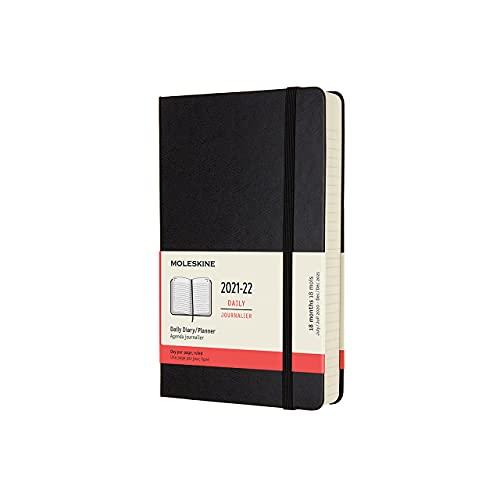 Moleskine Agenda Giornaliera 18 Mesi, Agenda 2021 con Copertina Rigida, Formato Large 13 x 21 cm, Colore Nero
