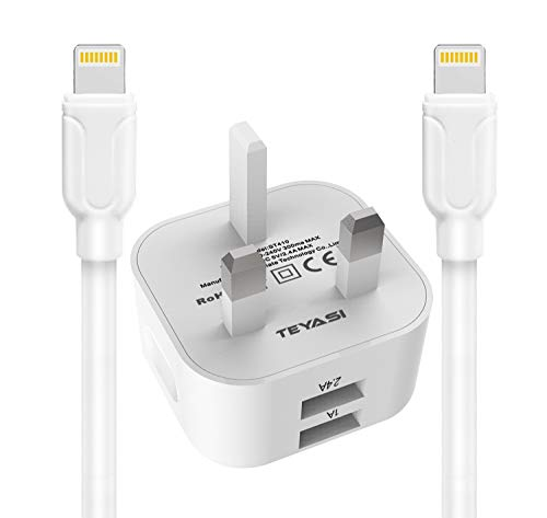 TEYASI Phone Charger Plug and Cable 2 Pack 1M Charging for iPhone 12 11 SE2020 X XS Max XR 8 7 6s 6 Plus 5s 5,iPad,Dual Ports USB Wall Charge Plug Adapter UK with Lead