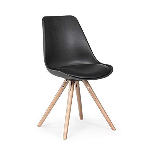 ARREDinITALY Lot de 2 chaises Wood séance et Coussin Noir