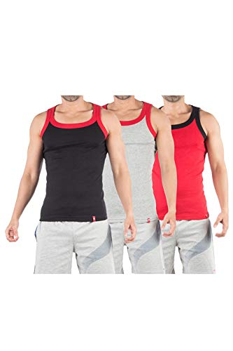 VIP Frenchie Flex Men's Vest (Assorted Colour, Large) - Pack of 3