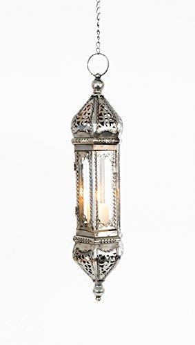Orientalische Lampe Laterne Höhe 62 cm incl. KETTE indische Hängelampe Glaslampe Orientlaterne Glas/Metall