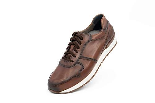 FRETZ men Branson City Sneakers | hochwertiges Ziegenleder im Running Shoe-Look | optimale Dämpfung, besonders leicht | Fußbett aus Memory Foam | für Einlegesohlen geeignet | braun, Größe 42