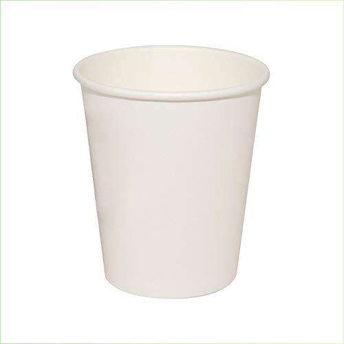 Palucart - 100 vasos de papel para agua, 240 ml, color blanco, biodegradables, cartón