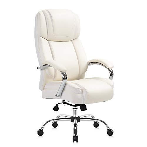 YAMASORO Silla de oficina ergonómica, grande y alta, de piel sintética, silla ejecutiva de escritorio, silla para oficina en casa, color blanco