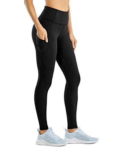 CRZ YOGA Women's High Waisted Compression Running Athletic Leggings with Pockets - Naked Feeling Light - 28 inches Black Large