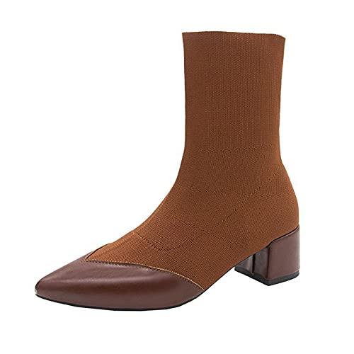 1988&Koi Hochhackige Socken Stiefel Spitze Zehen Dicker Absatz Stretch Socken Stiefel Damen Kurze Stiefel Herbst und Winter Neue Kurze Röhrennähte Stiefel