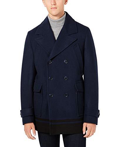 Calvin Klein Mens Wool Peacoat, Blue, Large