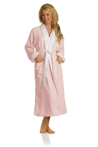 Luxury Spa Robe - Microfiber with Cotton Terry Lining, Pink, Large