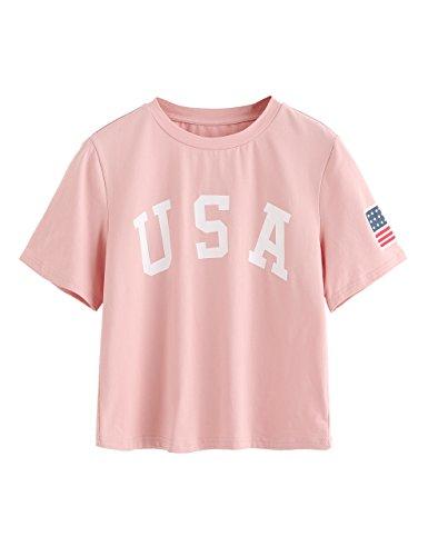 SweatyRocks Women's Letter Print Crop Tops Summer Short Sleeve T-shirt (Medium, Pink#)