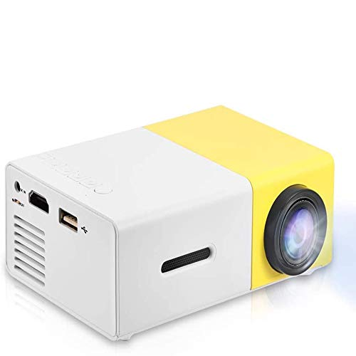 Mini Projector, Portable 1080P LED Video Projector Home Cinema Theater Movie Projectors Support HDMI / AV / USB / Memory Card Input Great Gift Pocket Projector for Party and Camping(Yellow-1)