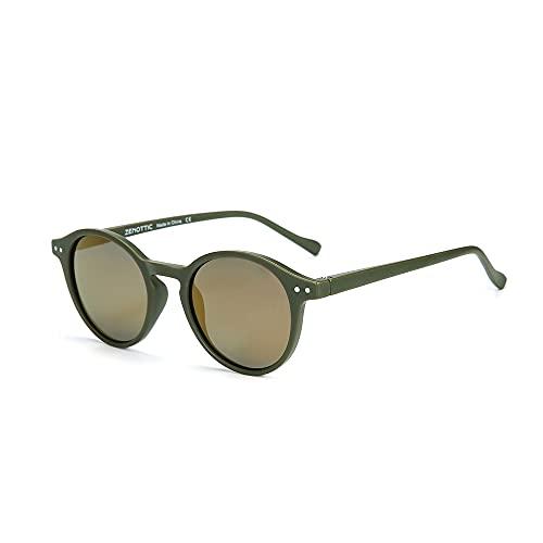 ZENOTTIC Gafas de sol Polarizadas Redondo Retrospectivo Clásico Retrospectivo Lentes de sol Marco UV400 Para hombres y mujeres (MATE VERDE + REFLECTANTE AMARILLO)