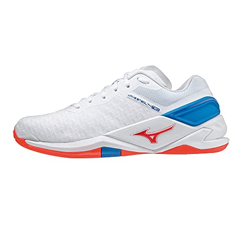 Mizuno Herren Wave Stealth Neo Handballschuh, White/Ignition Red/French Blue, 46 EU