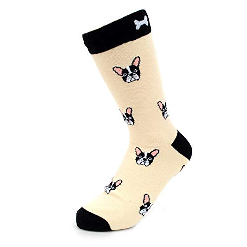 Urban-Peacock Women's Novelty Fun Crew Socks for Dress or Casual - Multiple Patterns Available! (French Bulldog - Beige, 1 Pair)
