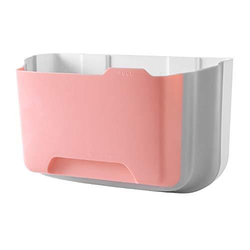 Papelera plegable plegable plegable para cocina, puerta, hogar, jardín, oficina, escuela, cocina, baño, separación seca y húmeda gabinete de basura (rosa)
