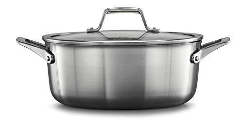 Calphalon 2029622 Premier Stainless Steel 5-Quart Dutch Oven with Cover, Silver