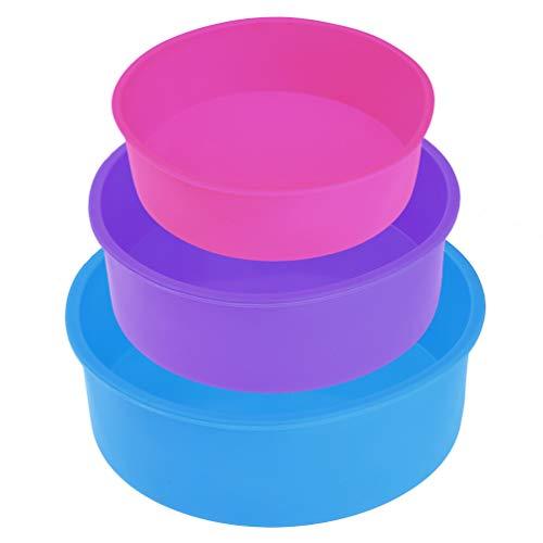 Uarter Silicone Torta Stampo Rotondo – 22.9 cm profondità 20.3 x 15.2 cm Silicone Round Cake Pan Tin BPA-Free Antiaderente, 5.3 cm, Confezione da 3