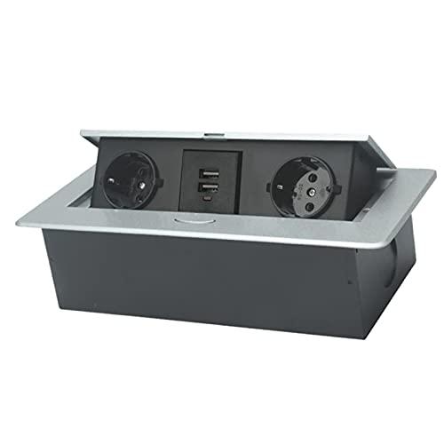 #N/A/a Enchufe de Caja de conexión de alimentación emergente de Mesa con Salida y Puerto USB para Escritorio de Oficina, Enchufe de la UE - Plata