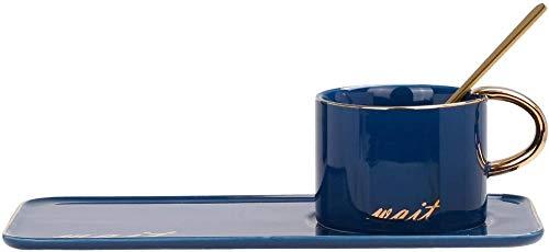 HUIQ Juego de Taza de café de cerámica con Cuchara y platillo Taza de té de Porcelana de 200 ml con Bandeja Cuchara Dorada para café expreso Chocolate Caliente Cappuccino Latte Blue-Azul