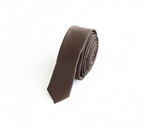 Fabio Farini - Elegante Herren Krawatte unifarben in 3cm Breite in verschiedenen Farben für jeden Anlass wie Hochzeit, Konfirmation, Abschlussball Braun