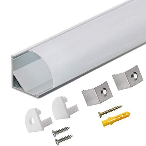 Profilo Alluminio LED Opale 45° - 10x1MT Profilo LED Anodizzato V-Figura per Strisce LED con Tappo Laterale Terminale,Clip di Montaggio,Copertura,Compatto Finitura Professionale …
