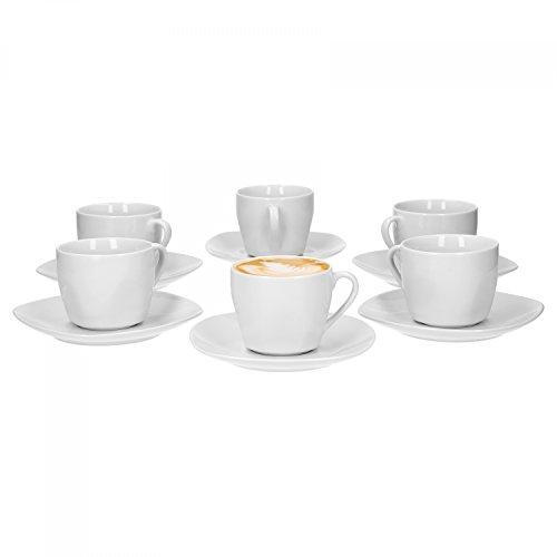 Van Well Kaffeetassenset Lilli, 12-TLG. Set, 6X Kaffeetasse 150 ml + 6X Unterteller 142 x 142 mm, edles Markenporzellan, glänzend, Geschirrset, klassisch weiß, quadratisch