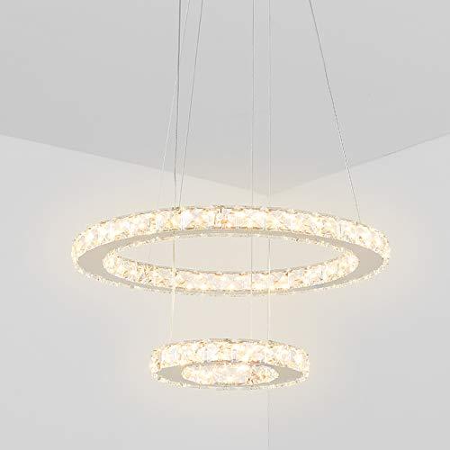 Temgin Lampadario di cristallo LED 2 anelli (40 cm + 20 cm) Lampada a sospensione 36 W Altezza regolabile Lampada da soffitto moderna per sala da pranzo Cucina Corridoio Bianco caldo
