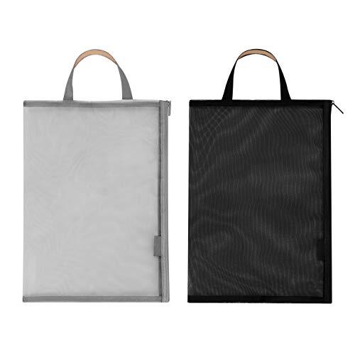 ファイルバッグ 手提げ ジッパー式 ファイル袋 ドキュメントファイル メッシュ A4 透明 一つポケット 携帯 收納袋 ビジネス 文房具 旅行 オフィス用 ブラックとグレー 二つセット