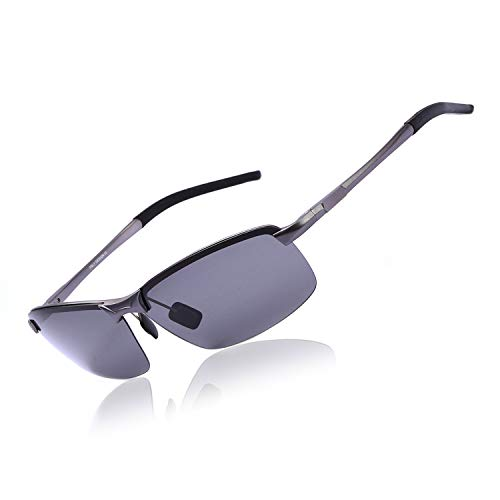 OSVAW Mens Photochromic Polarized Sunglasses Aviator Sun Glasses, UV 400 Protection with Metal Frame for Driving Travling (Gun Frame/Grey Polarized Lenses Non Photochromic)