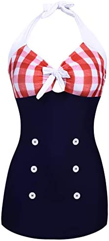 Ekouaer Plus Size Bathing Suits Retro Tummy Control Swimwear High Neck One Piece Swimsuits Women product image