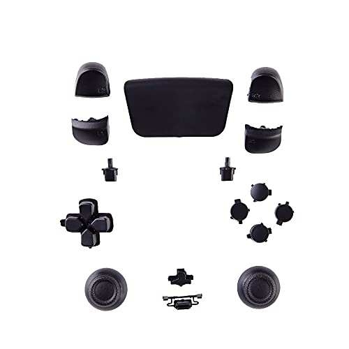 GOTRUTH Replacement Repair Kits for PS5, D-pad + PS Microphone Buttons + Share Options + R1 L1 R2 L2 Trigger + ABXY Bullet Button, Full Set Buttons for Playstation 5 DualSense Controller (Black 4)