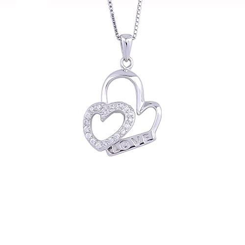 Kkoqmw 925 Plata esterlina Pareja CZ corazón Amor Carta Collar para Mujer Cristal corazón Colgantes joyería romántica